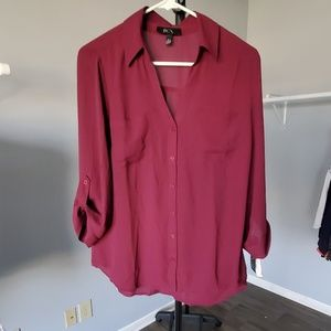 BCX Large Plum almost sheer blouse 3/4 sleeve